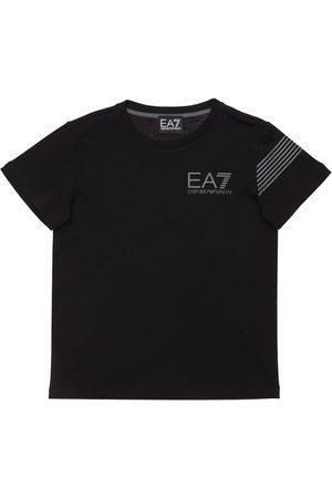 EA7 Logo Print Cotton Jersey T-shirt