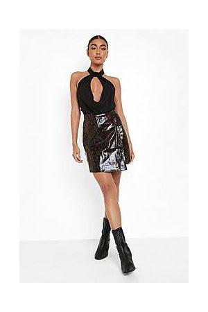 Boohoo Snake Leather Look Wrap Mini Skirt