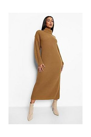 Boohoo Oversized Knitted Roll Neck Dress