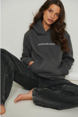 Calvin Klein Shrunken Instit Fleece Hoodie - Grey