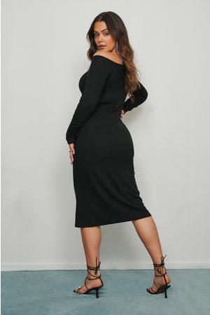 NA-KD Rib Bare Shoulder Midi Dress - Black