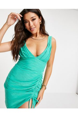 ASOS Broderie plunge side ruched mini dress in sage-Green