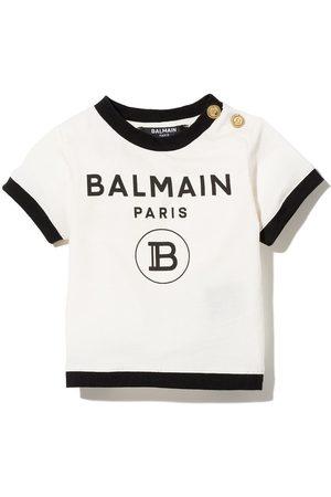 Balmain Logo print contrasting trim T-shirt