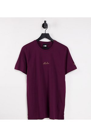 New Era Miehet T-paidat - Heritage script t-shirt in burgundy - exclusive to ASOS-Red