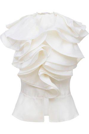 PRABAL GURUNG Sleeveless Silk Top W/ Ruffled Collar