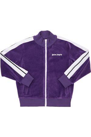 Palm Angels Logo Zip-up Chenille Sweatshirt