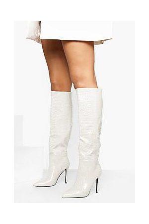 Boohoo Naiset Ylipolvensaappaat - Croc Knee High Pointed Stiletto Heel Boots