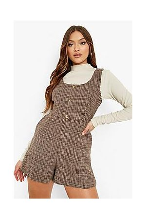 Boohoo Woven Check Button Detail Pinafore Playsuit