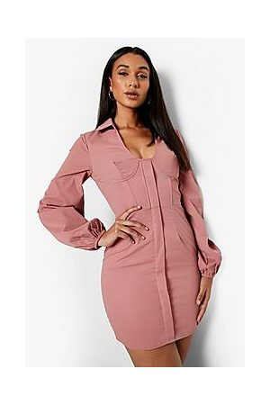 Boohoo Corset Detail Blouson Sleeve Blazer Dress