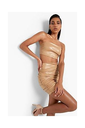 Boohoo Mix & Match Leather Look Ruched Mini Skirt