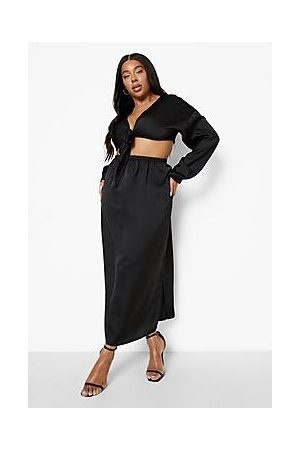 Boohoo Plus Satin Tie Front Skirt Co-ord