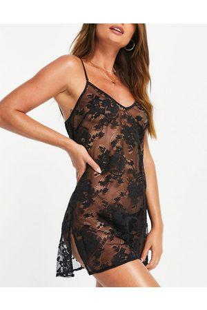 Ann Summers Dark Hours sheer lace chemise in black