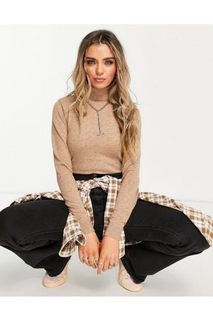 Object Roll neck knitted jumper in brown