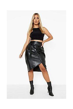Boohoo Plus Pu Wrap Tie Belt Midi Skirt