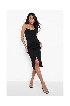 Boohoo Scuba Strapless Midi Dress