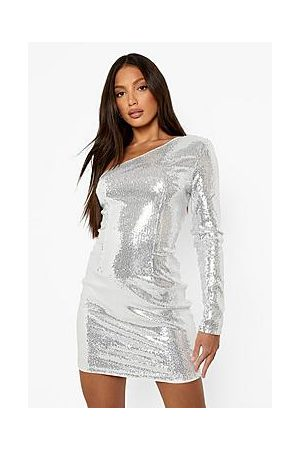 Boohoo Tall One Shoulder Bodycon Sequin Dress
