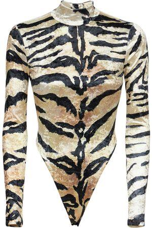 Roberto Cavalli Printed Open Back Strech Nylon Bodysuit