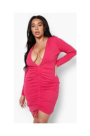 Boohoo Plus Plunge Ruched Bodycon Dress
