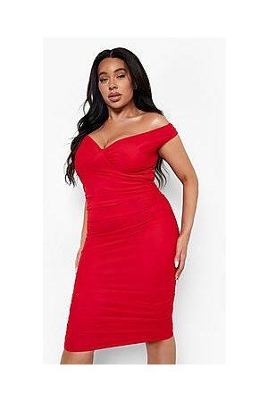 Boohoo Plus Mesh Overlay Off The Shoulder Midi Dress