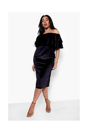 Boohoo Plus Velvet Ruffle Off Shoulder Midi Dress