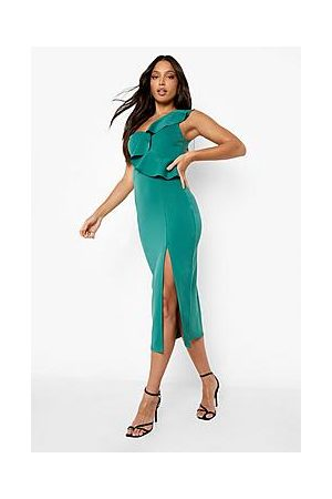 Boohoo Tall Recycled One Shoulder Frill Midi Dress
