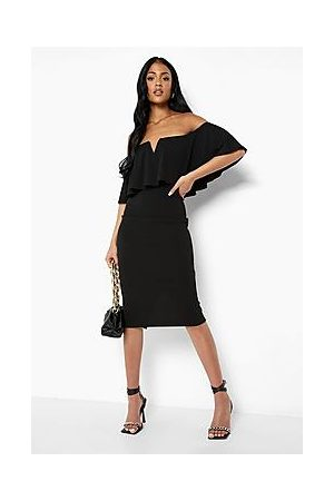 Boohoo Tall Off Shoulder Ruffle Midi Dress