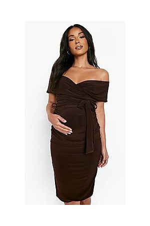 Boohoo Maternity Off The Shoulder Tie Waist Dress