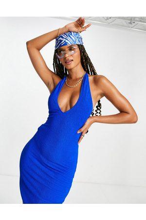 Public Desire Naiset Juhlamekot - Scrunch wrap halter mini dress in blue