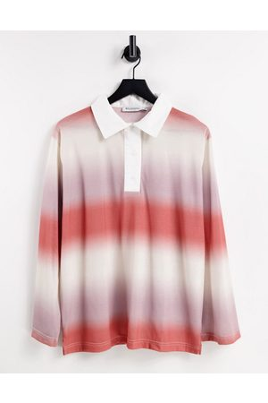Bolongaro Naiset Pikee - Oversized ombre polo shirt in peach-Pink