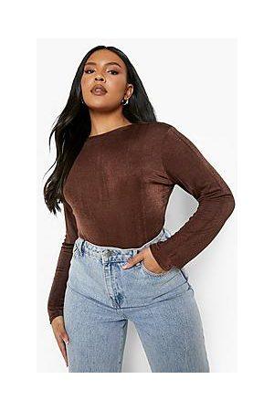 Boohoo Naiset Bodyt - Plus Textured Slinky Long Sleeve Bodysuit