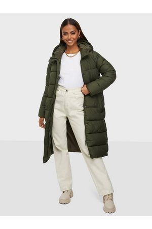 ONLY Naiset Untuvatakit - Onlcammie Long Quilted Coat Otw Forest Night