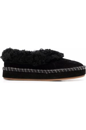 Tory Burch Shearling embossed-logo slippers