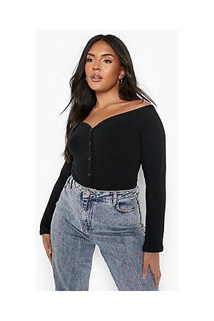 Boohoo Plus Rib Button Up Bardot Bodysuit
