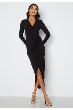 John Zack Naiset Juhlamekot - Long Sleeve Wrap Maxi Dress Black XXL (UK18)