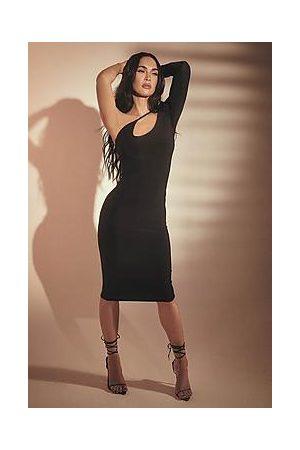 Boohoo Double Slinky One Sleeve Cut Out Midi Dress