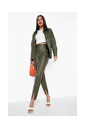 Boohoo Pu Coated Split Front Skinny Jean