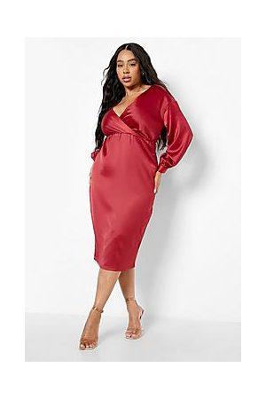 Boohoo Plus Satin Off Shoulder Midi Dress