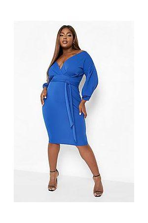 Boohoo Plus Off The Shoulder Wrap Midi Dress