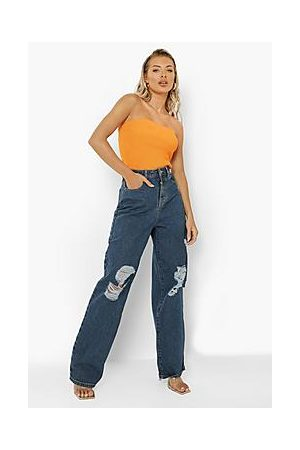 Boohoo Distressed Wide Leg Jean