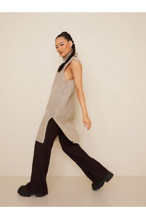 ONLY Naiset Poolopaidat - Onlcora Long Rollneck Vest Knt Pumice Stone W. Melange