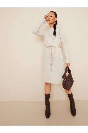Pieces Naiset Neulemekot - Pccava Ls O-Neck Knit Dress Noos Bc Birch