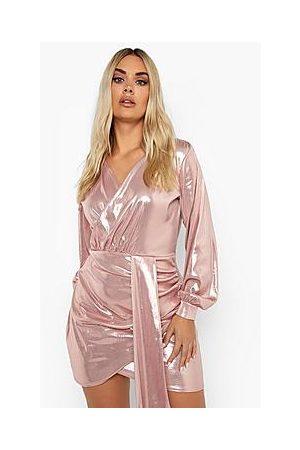 Boohoo Plus Metallic Wrap Drape Bodycon Dress