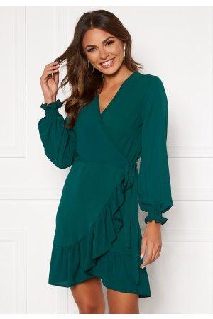 John Zack Naiset Kesämekot - Frilly Wrap Mini Dress Forest Green XS (UK8)