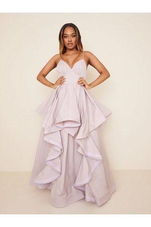 True Decadence High Low Flounce Maxi Dress Pale Mauve