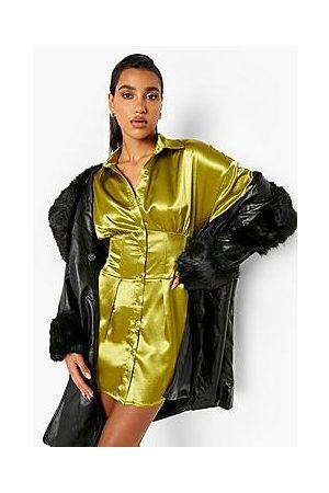Boohoo Satin Corset Waist Detail Shirt Dress