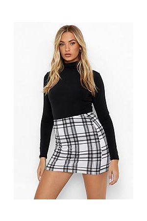 Boohoo Naiset Printtihameet - Tartan Check Print Jersey Tube Mini Skirt