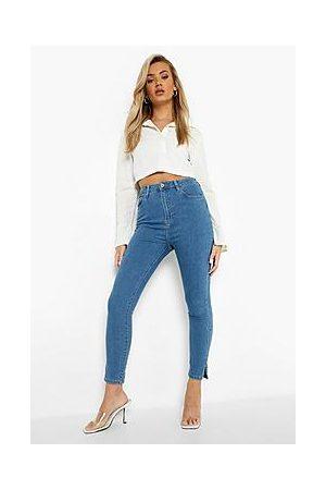 Boohoo Naiset Boyfriend - Basic Stretch Split Hem Skinny Jeans