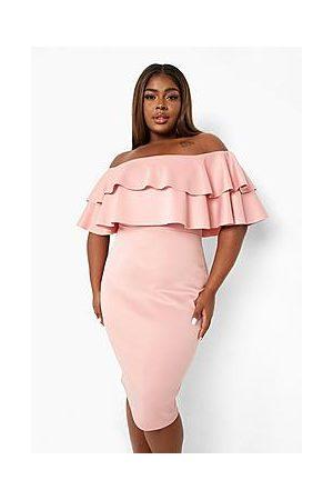 Boohoo Naiset Midimekot - Plus Off Shoulder Ruffle Midi Dress