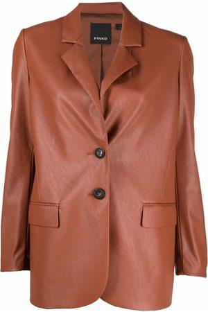Pinko Naiset Talvitakit - Single-breasted faux-leather blazer