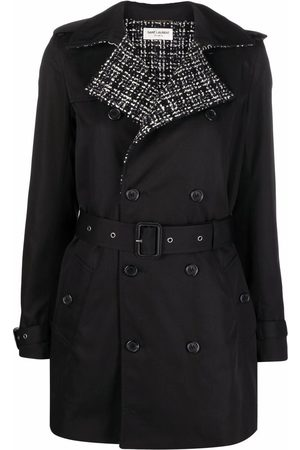 Saint Laurent Naiset Trenssit - Tweed detailing double-breasted trench coat